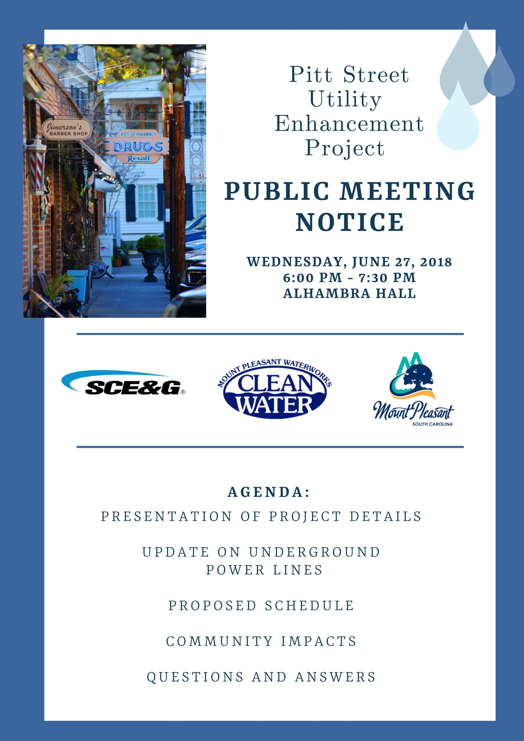 Pitt Street Utility Enhancement project meeting invite