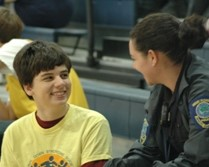 Officer working with a student