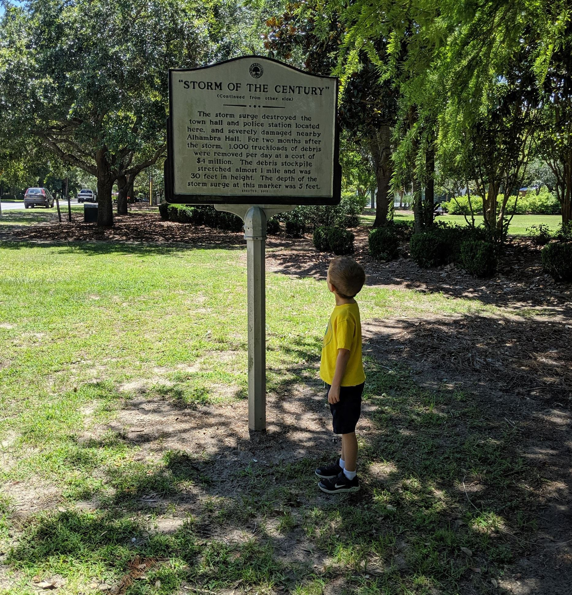 boy reading historical marker Opens in new window