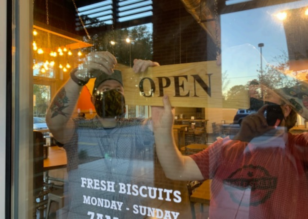 Maple Street Biscuit Co Ribbon Cutting Open Sign